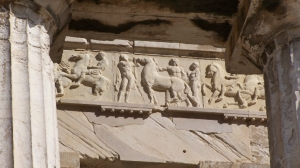 Copy of part of the Parthenon frieze on the Parthenon. ON the Parthenon