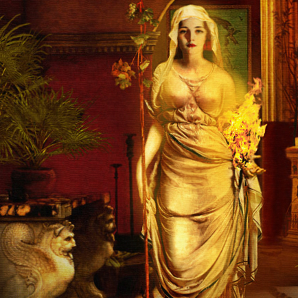 Detail of a Painting of Hestia  by Howard David Johnson